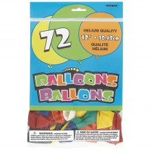 Unique 12'' Assorted Color Latex Balloons, 72 Count