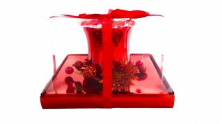 Christmas Candle Holder Glass,Red 1pc Large