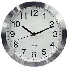 Silver And White Aluminum Wall Clock