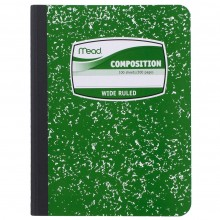 Mead Composition Book, Notebook, Wide Ruled, 9.75 x 7.5 Inch, Green (72249)