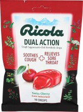 Ricola, Cough Throat Drops Dual Action Cherry, 19 Count