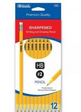 Bazic Premium Quality HB2 Sharpened Writing & Drawing Pencil, 12 Cnt.