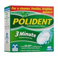 Polident Denture Cleaner  Antibacterial 3 Minutes Tablet ,40 Count