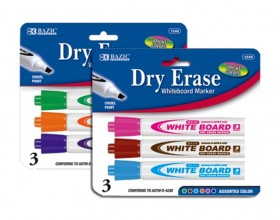 Bazic Fancy Color Chisel Tip Dry-Erase Markers 1249, 3 Count