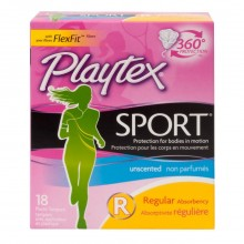Playtex Sport Unscented, Regular, 18's