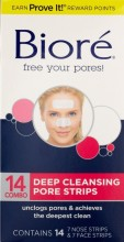 Biore Deep Cleansing Pore Strips, Face & Nose Combo Strips, 14 Count.