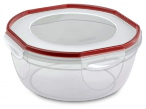 Sterilite Ultra Seal Bowl Clear Lid and Base with Red Rocket Gasket Accents