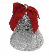 Deco Noel Xmas Glitter Bell And Red Velvet Bow Ast Colours