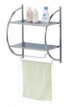Home Basics NEW Bath Extra Shelf Shelves Towel Rack Silver Chrome - BS10105