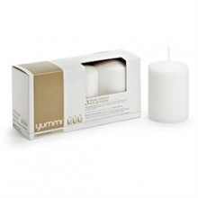 Yummi White Unscented Pillar Candle, 3x4