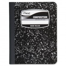 Mead Black Marble Wide-Ruled Composition Book 09910. 100 pages, Wide Ruled. White Paper